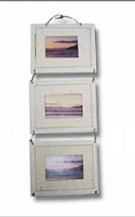 porta retrato triplo de parede em papel artesanal
