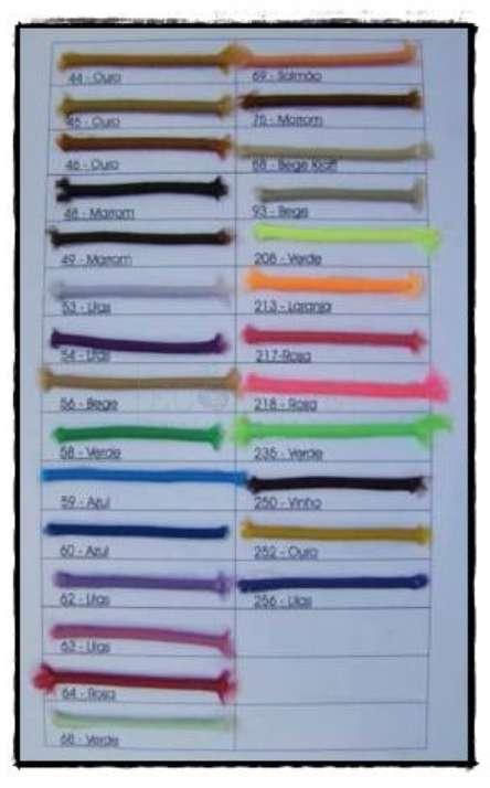 Paleta de cores de elastico