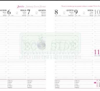 Foto: agenda semanal em papel reciclado