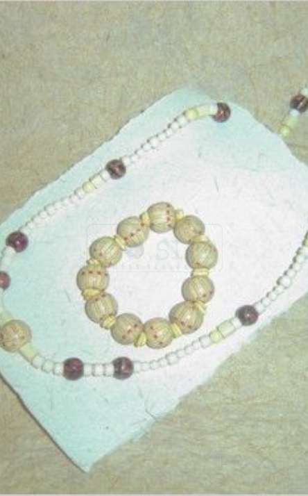 conjunto de pulseira com colar de sementes