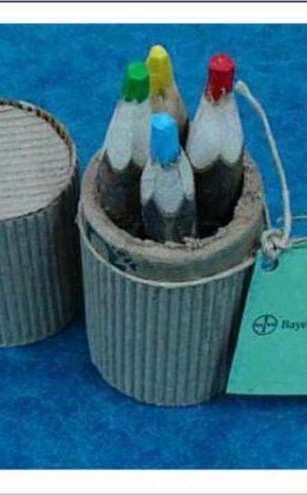Kit com 4 Lapis de cor reciclado de galhos de poda de arvore
