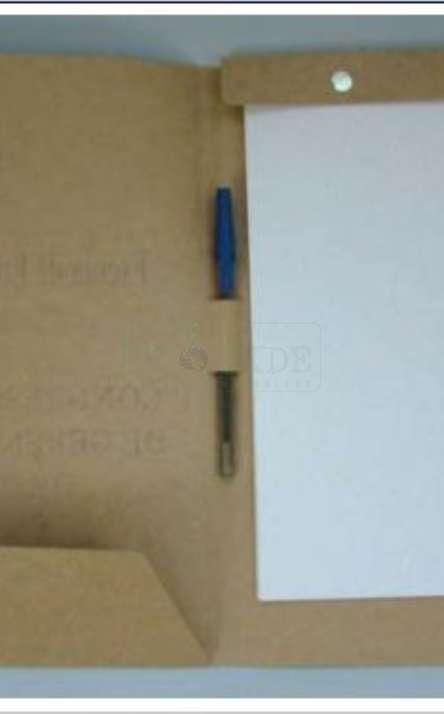 pasta congresso em papel kraft com bloco de papel reciclado e caneta